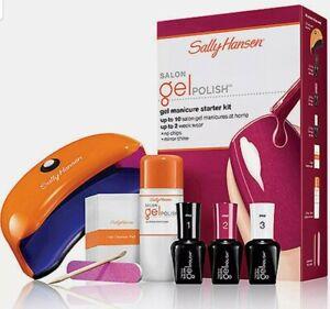 Sally Hansen Salon Gel Polish Shine Nail Manicure Starter Kit Led Lamp Wine