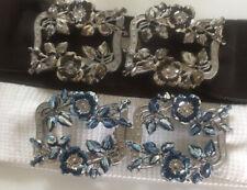 More details for 2 vintage belt buckles 2 part on elastic belts nurse buckles large metal