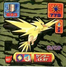 POKEMON STICKER CARD JAPANESE 50X50 1997 GOLD HOLO N° 407 ZAPDOS ELECTHOR