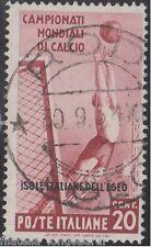 Isole italiale EGEO 1934 mondiali di calcio 20 cent. usato originale S.76 -F414