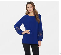 Dennis Basso Caviar Crepe Tunic with Lace-Trimmed Sleeves Sapphire Large