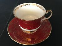 BONE CHINA CUP & SAUCER BY ELIZABETHAN RED SOVEREIGN PATTERN