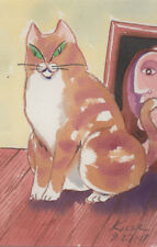 "#2976- Original Watercolor by George Kocar ""Brown cat with a Picasso."""