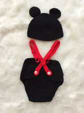 Minnie Mickey Mouse Baby Crochet Suspenders & Hat Set - Newborn 0-6m Photo Prop
