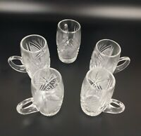 Set of Five (5) Vintage Bohemia Czech Crystal Glasses with Handle Barware