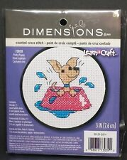 "Dimensions Learn-A-Craft ""Perky Puppy"" Counted Cross Stitch Kit 3-in Round 73039"