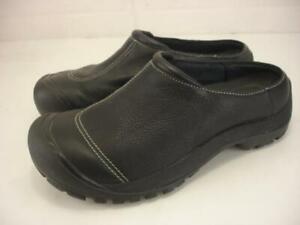 Men's sz 9.5 M Keen Utility PTC Slip-On Black Leather Slip-Resistant Clogs Shoes