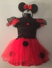 Minnie Mouse Red & Black Polka Dot Toddler Halloween Costume Size 3-4