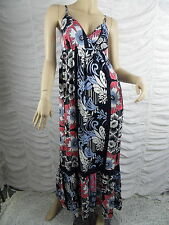 NEXT dark blue multi floral print spaghetti strapped maxi dress size 6 NWOT