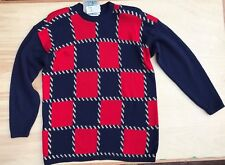 BOUNDARY WATERS Red Blue Gold Sweater 80's FASHION NEW NWT Size MEDIUM