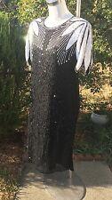 VTG CARINA 100% Silk Beaded Black White Formal Party Dress Sz Med