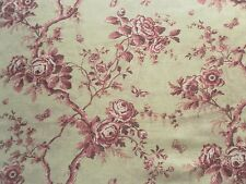 Ralph Lauren Curtain Fabric ASHFIELD FLORAL SHEER 0.65m Vintage Wine Linen 65cm