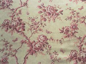 Ralph Lauren Curtain Fabric ASHFIELD FLORAL SHEER 0.65m Vintage Wine Linen 65cm