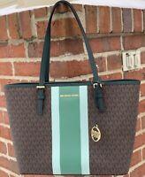 Michael Kors Jet Set Travel MD  Carryall Tote Brown Pine Green MK Signature  Bag