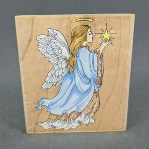 Stamps Happen Celestial Angel Wood Mounted Rubber Stamp #80020 Heaven Religious