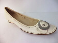 TREMP IVORY LEATHER Quality SLIP ON LOW HEEL BALLET FLATS SZ 7M ITALY