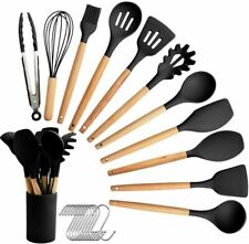11PCS Silicone Kitchen Cooking Utensils Set Wooden Handle Heat Resistant Basting