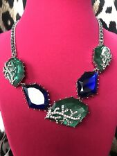 Betsey Johnson Blue Sea Crystal Lucite Jewel Ocean Rock Silver Coral Necklace