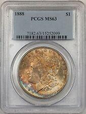 1888 Morgan Silver Dollar $1 Coin PCGS MS-63 Toned (BR-21 Q)