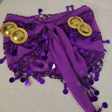Belly Dance Finger Cymbals with Purple Belly Dance Lightweight Wrap EUC