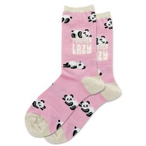 Forever Lazy Hot Sox Women's Crew Socks Pink New Novelty Panda Bear Fashion