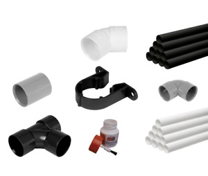 32/40/50mm UPVC Solvent Weld Waste Pipe 1m & Fittings Black, White & Grey
