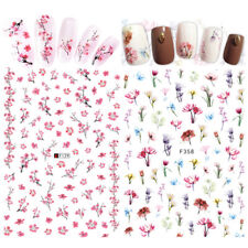 2 Sheets Pink Flower 3D Nail Stickers  Nail Art Transfer Decals Decor
