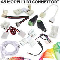 49 ACCESSORI STRISCIA LED Spinotti Connettori LED cavo Jack Plug Clip RGB 4 Pin