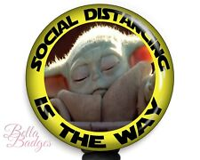 Baby Yoda Star Wars Social Distancing Badge Reel Name Tag ID Pull Clip Holder