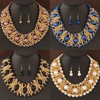 luxury Women's Pearl Chain Chunky Choker Statement Pendant Bib Necklace Set