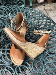 Gabor Tan Leather Wedges 6