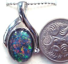 Women Opal Necklace Gift Solid Sterling Silver Lightning Ridge