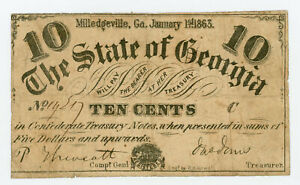 1863 Cr.18 10c The State of GEORGIA Note - CIVIL WAR Era