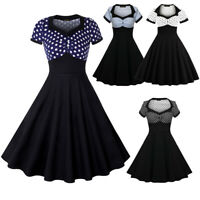 50'S 60'S ROCKABILLY Swing Vintage Polka Dot Flare Pinup Housewife Party Dress