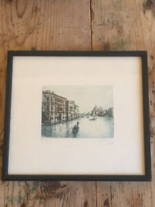 Original Signed Etching of Venice in Original Black Wood Frame