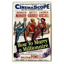 Vintage Style Monroe Millionaire Retro Metal Wall Plaque Shabby Chic Movie Sign