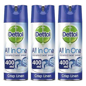 3 x Dettol All in One Spray Crisp Linen 400ml Antibacterial Disinfectant