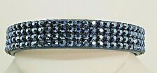 Signed Swarovski Bracelet Crystal Metallic Blue Leather  B125