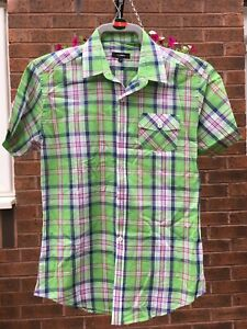 Mens Peter Werth short sleeve Green, Blue and Red check shirt size 2 (Small)