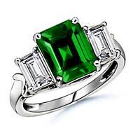 7.25CT Women's Gorgeous Three Stone Emerald Cut Diamond Engagement Rings Size 7
