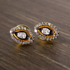 RUSTIC NATURAL DIAMOND HALO STUDS MARQUISE SEEING EYE BOHO EARRINGS FREE FORM