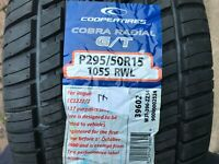 1 X NEW 295 50 15 COOPER TIRE COBRA RADIAL G/T TYRE P295/50R15 105S RWL
