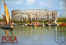 Vintage Illustrated Travel Poster CANVAS PRINT Italy Coliseum Pola  A3