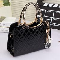 Black Womens Leather Style Tote Shoulder Bag Handbag Ladies Designer Celebrity