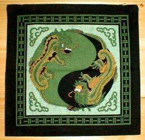 Yin Yang Dragon Cushion Pillow Cover Green