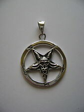 Sterling Silver Goat Pentagram In Circle Pendant New