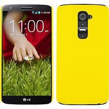 Custodia Rigida LG G2 - gommata giallo + pellicola protettiva