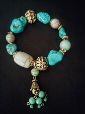 "Bracelet Faux Turquoise and gold tone Bead stretch Tassel 7"" chunky"