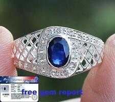 Natural Blue SAPPHIRE & WHITE TOPAZ 925 100% Solid Sterling Silver RING S7.5