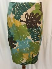 Clio Womens Skirt Sz 10 Straight Pencil Palm Leaves Tropical Side Zip Size 10